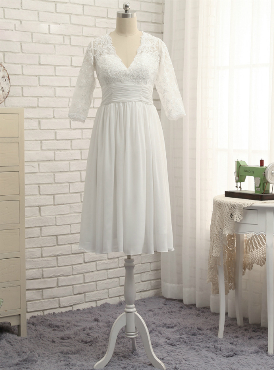 A-line 3/4 Sleeves Tea Length Chiffon Lace Vintage Wedding Gown