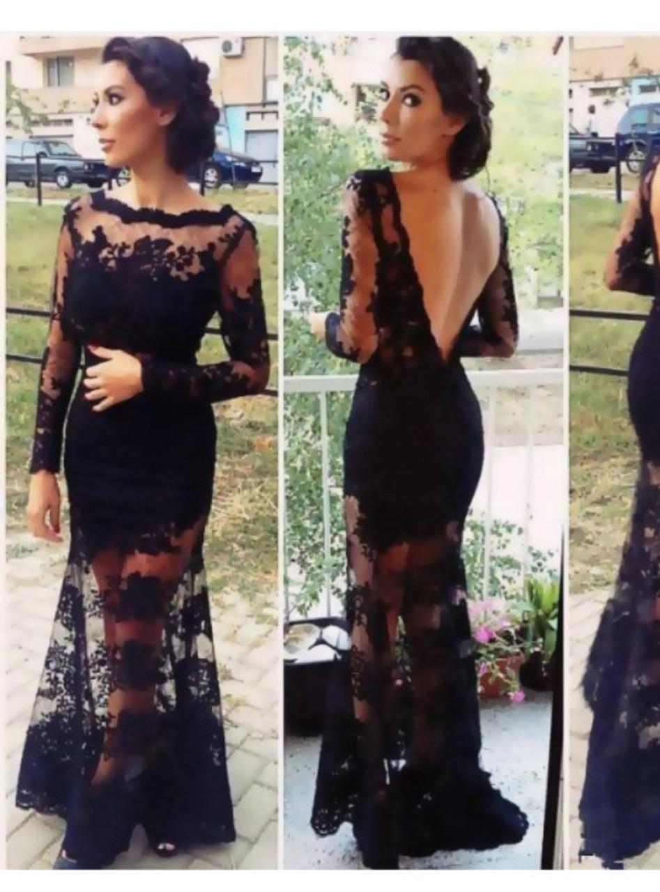 Mermaid Bateau Black Lace Trumpet Long Sleeves Applique Lace Prom Dress