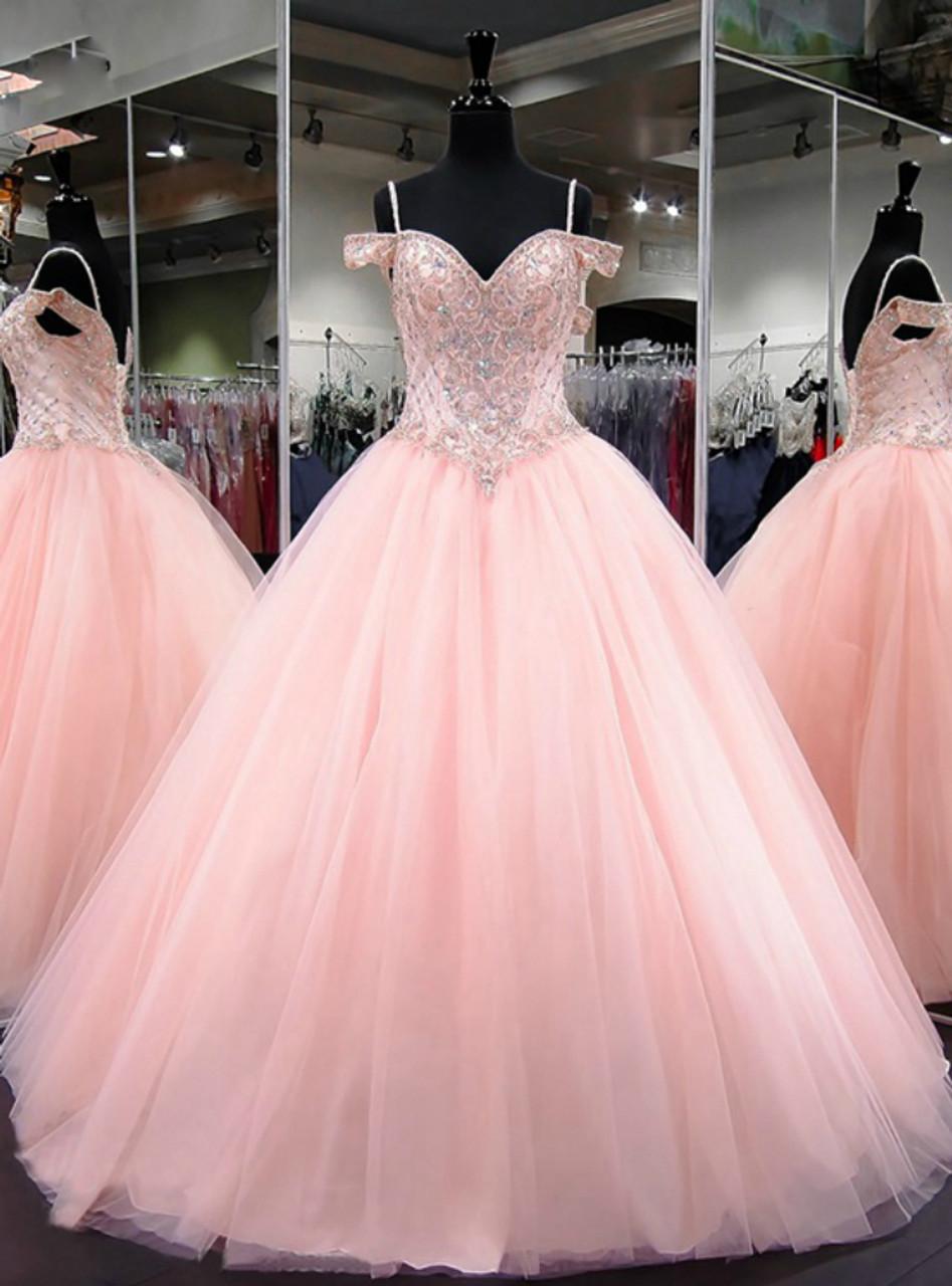 Ball Gown Cap Sleeve Sweet 16 Light Pink Beaded