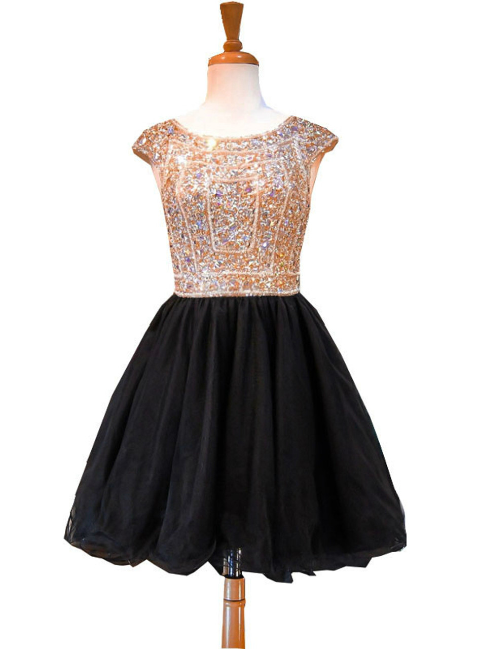A Line Sleeveless Beaded Crystals Backless Black Homecoming Dresses