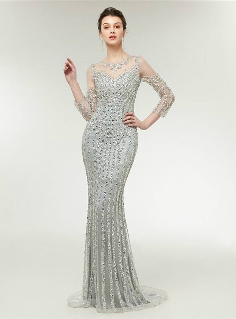 Mermaid Silver Tulle Sequins Long Sleeve Bling Bling Prom Dress ...