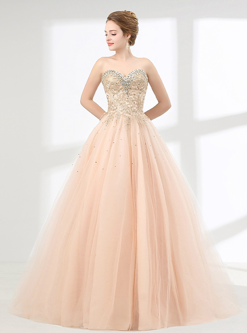 Champagne Ball Gown Sweetheart With Beading Prom Dress