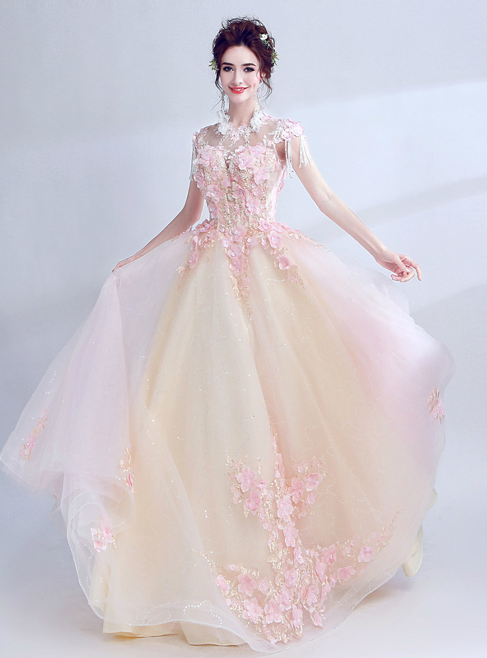 In Stock:Ship in 48 hours Pink Appliques Cap Sleeve Wedding Dress