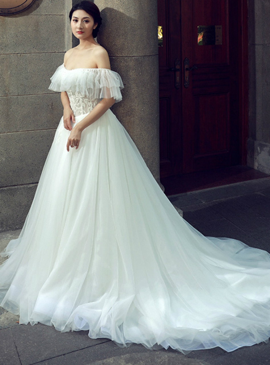 White ball gown off the shoulder tulle lace backless wedding dress junglespirit Choice Image