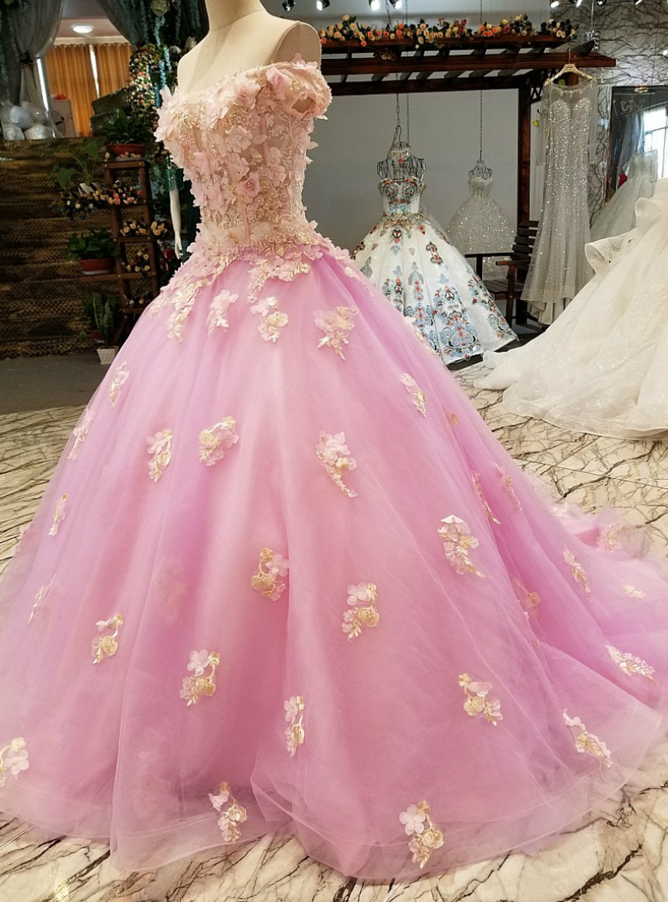 Pink Ball Gown Tulle Appliques Off The Shoulder Wedding Dress