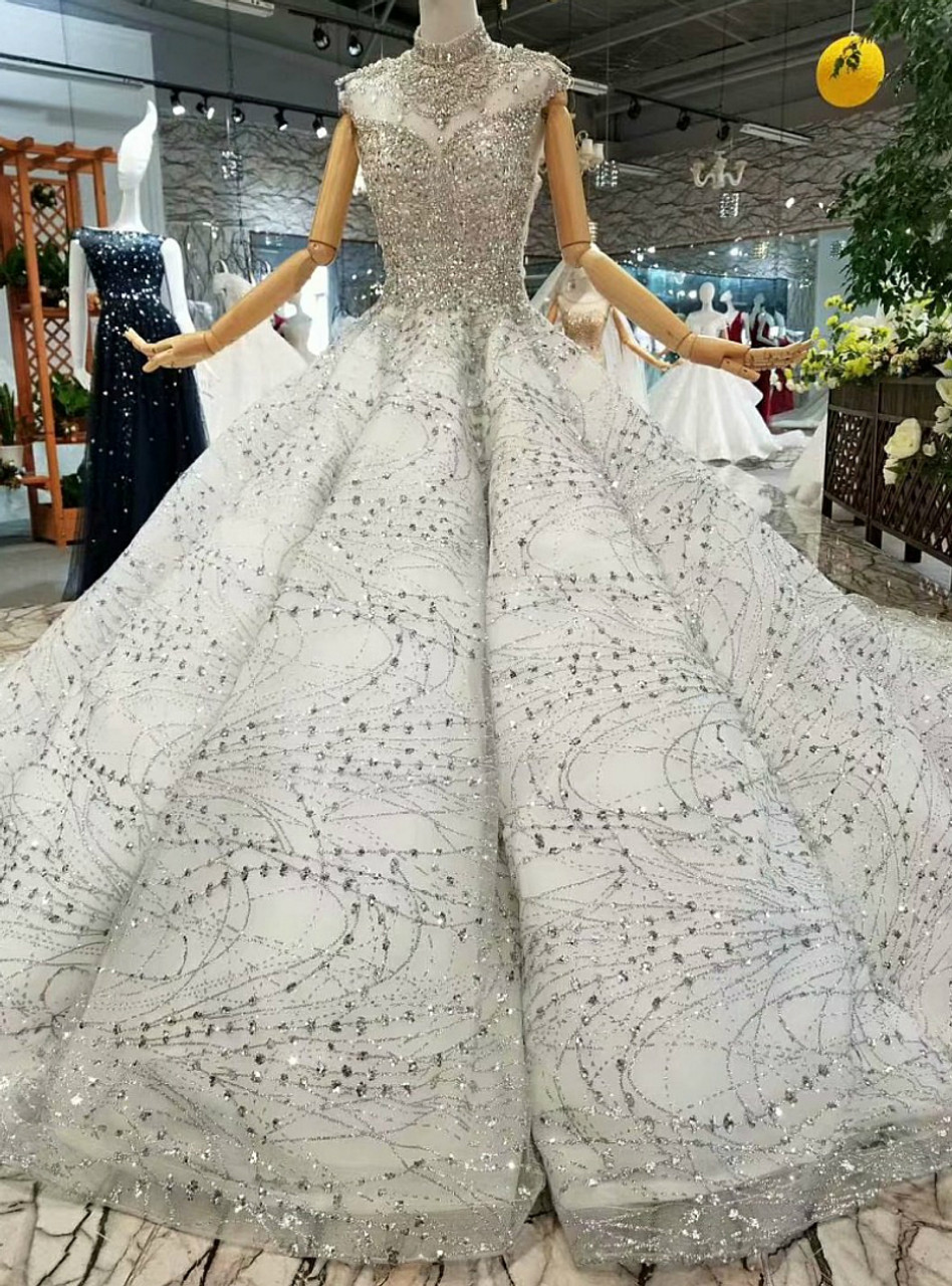 Silver Ball Gown High Neck Sequins Beading With Long Train Wedding Dress