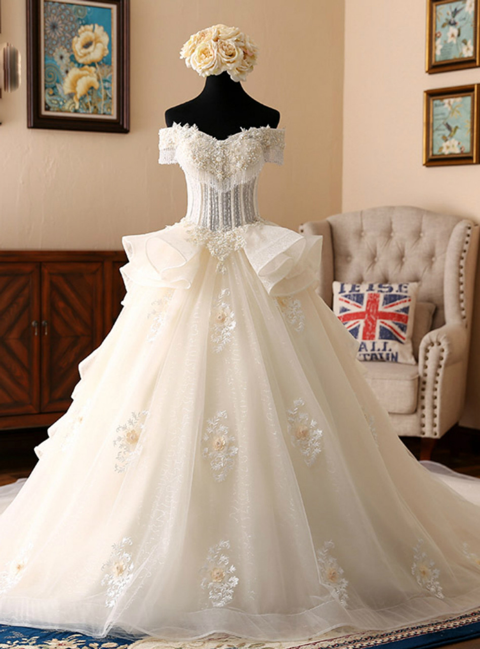 Light Champagne Ball Gown Tulle Off The Shoulder With Pearls Wedding ...
