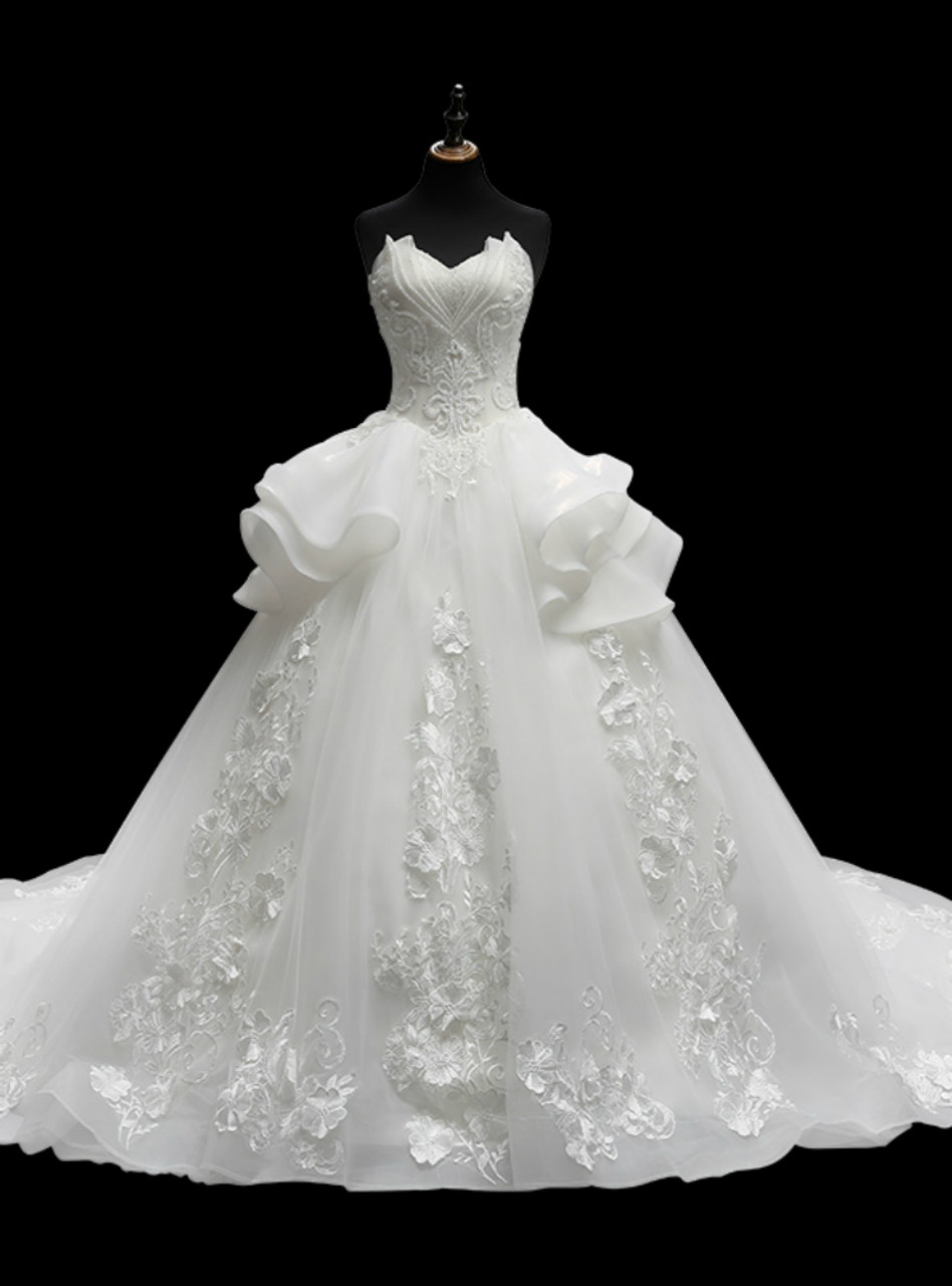 White Ball Gown Sweetheart Neck Tulle Appliques Train Wedding Dress