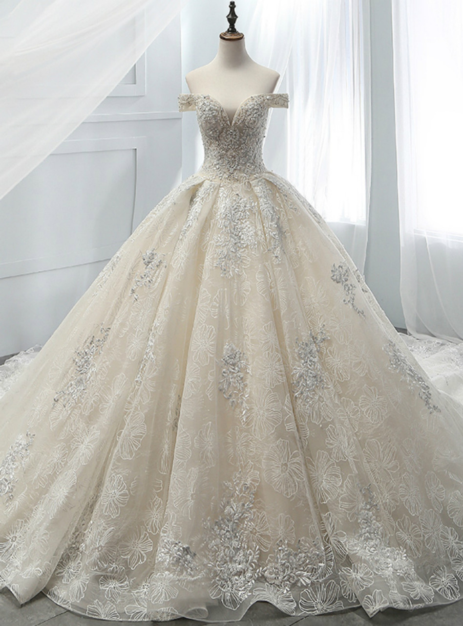 Champagne Ball Gown Tulle Appliques With Beading Off The Shoulder ...