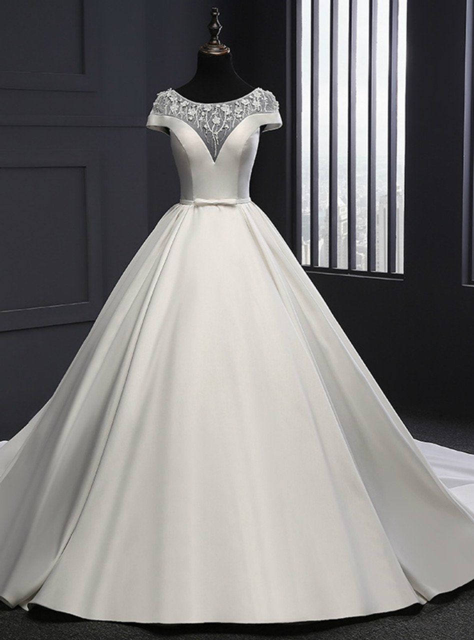 White Ball Gown Satin Cap Sleeve With Beading Wedding Dress