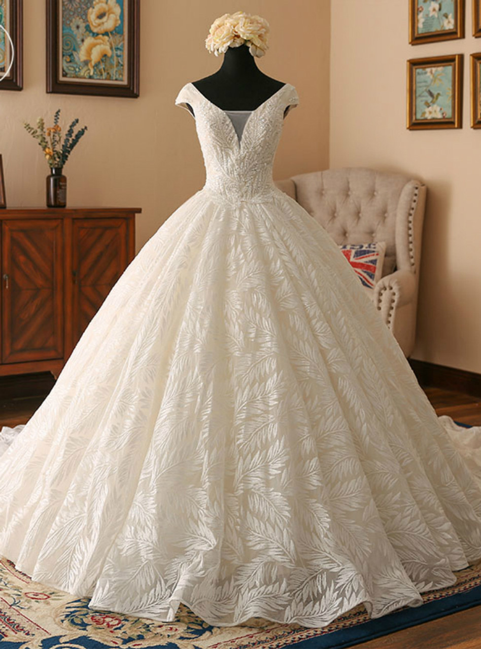 Light champagne ball gown v neck backless lace wedding dress junglespirit Images