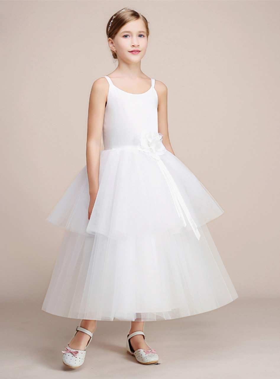 White Ball Gown Spaghetti Straps Tulle Tea Length Flower Girl Dress