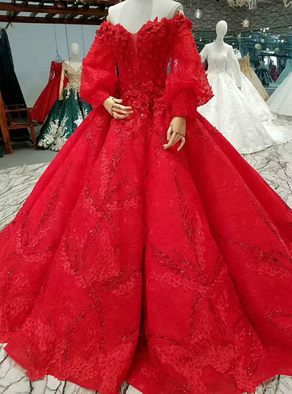 Red Ball Gown Lace Off The Shoulder Puff Sleeve Appliques Wedding Dress