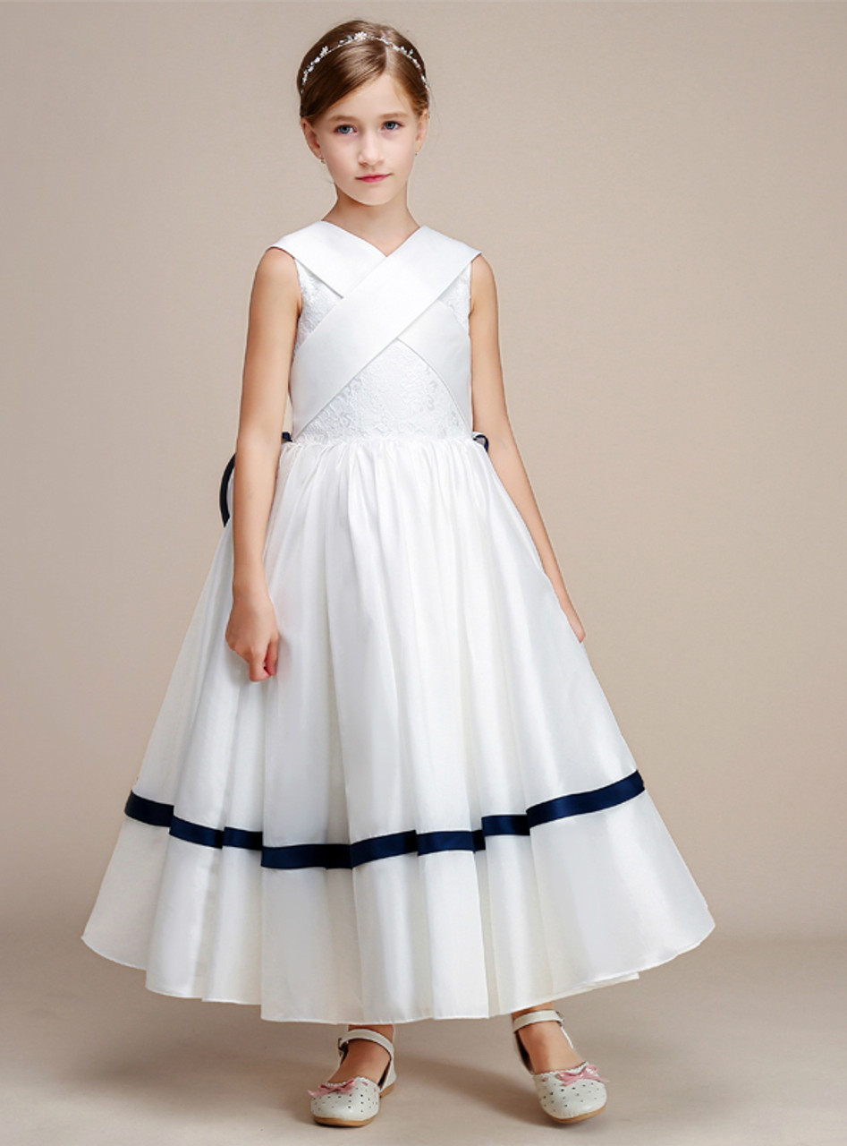 A line white satin lace tea length flower girl dress mightylinksfo