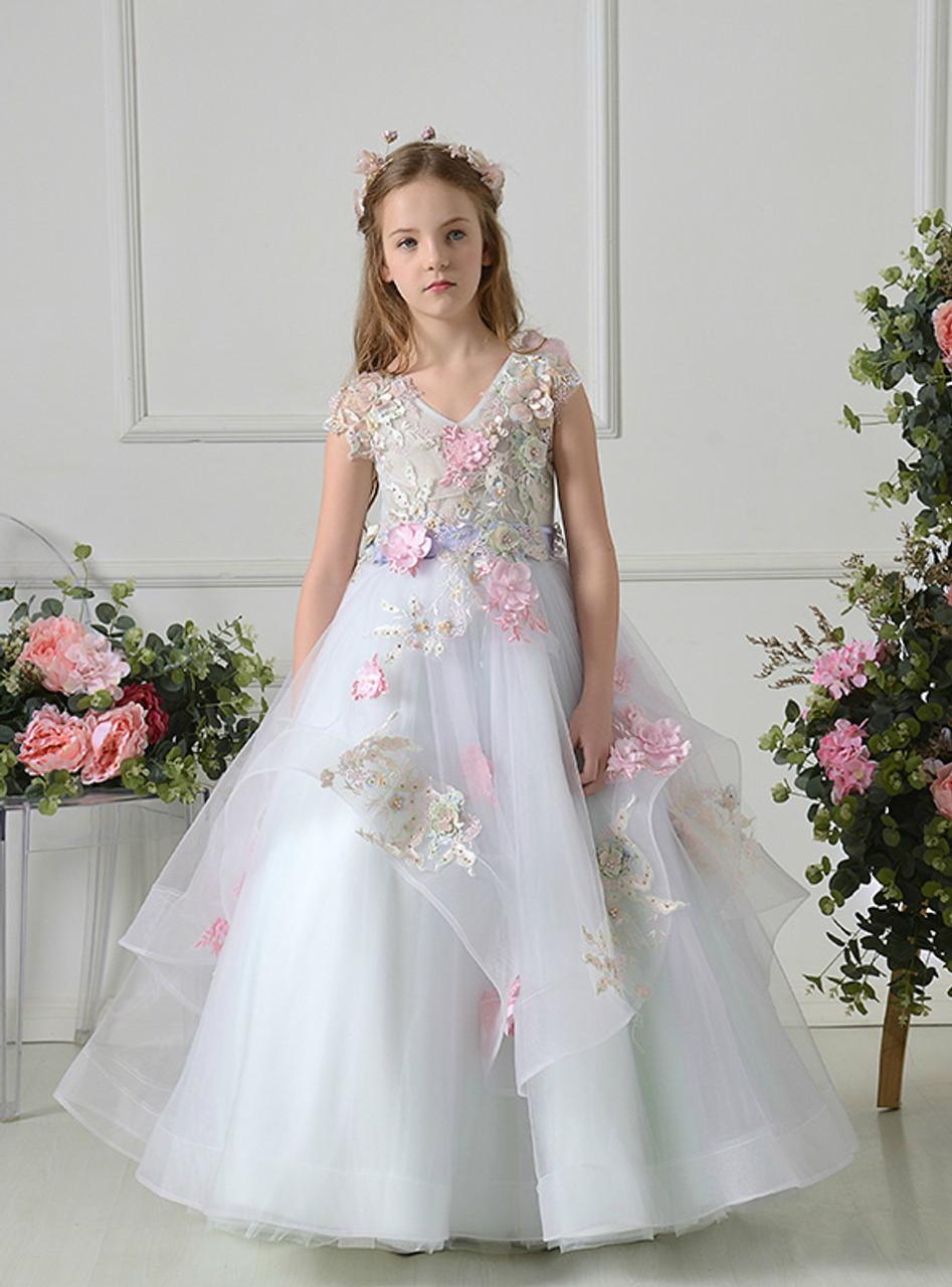 White ball gown tulle v neck appliques floor length flower girl dress mightylinksfo