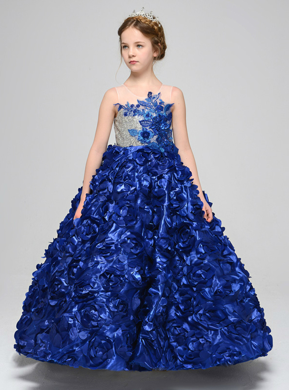 Blue Satin Ball Gown Sequins Appliques Lace Back Flower Girl Dress
