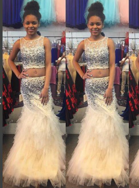 2 Piece Prom Dresses Champagne Prom Dress Mermaid Prom Dress Tiered ...