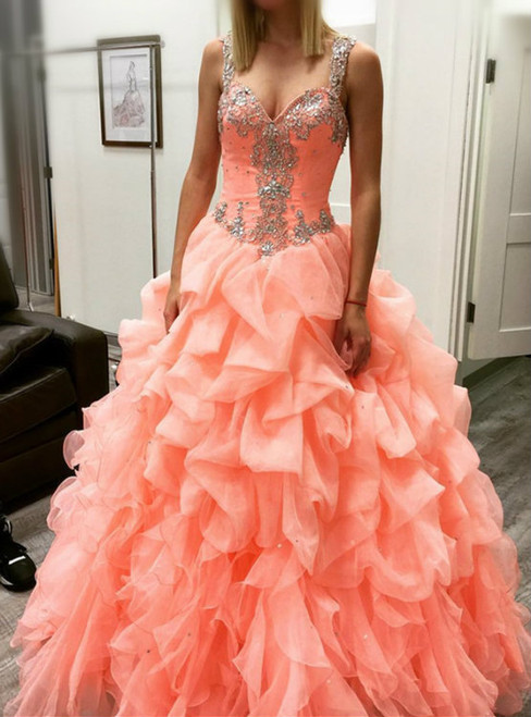 Orange Ball Gowns Straps Organza With Crystal Quinceanera Dresses