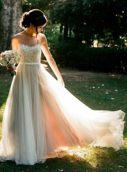 Modest Beach Wedding Dresses Open Back Outdoor Summer Weddings Dress