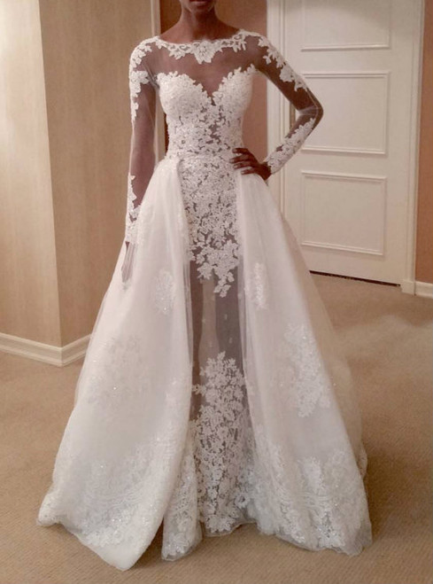 Fit To Flare Wedding Dress Long Sleeves With Removable Train