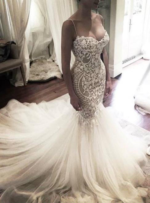Wedding Gown Princess Mermaid Wedding Dress With Spaghetti Straps