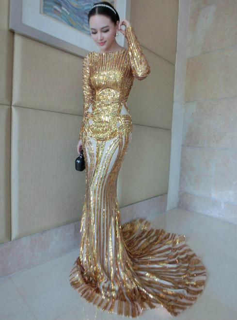 Luxury Silver Mermaid Prom Dresses Long Sleeve Sheer Neck