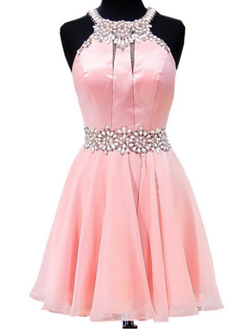 Adorable A-line Beaded Crystals Junior Chiffon Party 8th Grade Prom ...