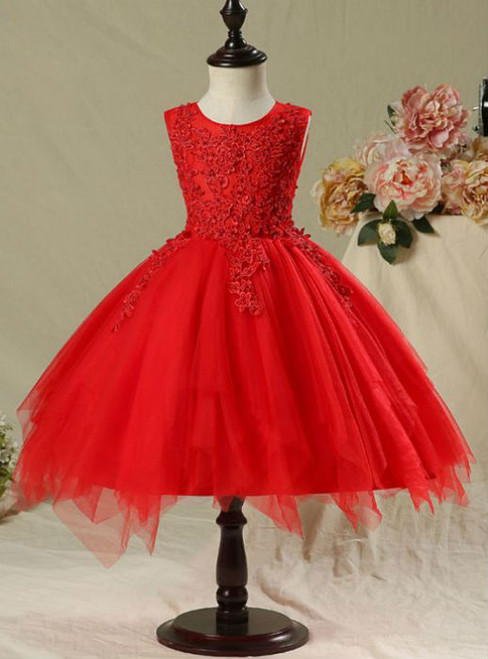 Hot Sale 2017 Flower Girl Dresses Red Short Ball Gown Scoop Neck ...