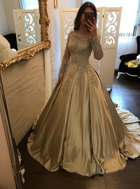 Classic Boat Neck Lace Corset Satin Ball Gown Wedding Dress Bridal ...