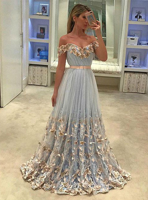 FORMAL DRESSES CUTE TWO PIECES TULLE SEQUIN LONG PROM DRESS