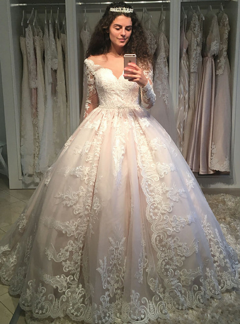 Fairy Tale Romantic Lace Long Sleeves Wedding Ball Gown Dresses