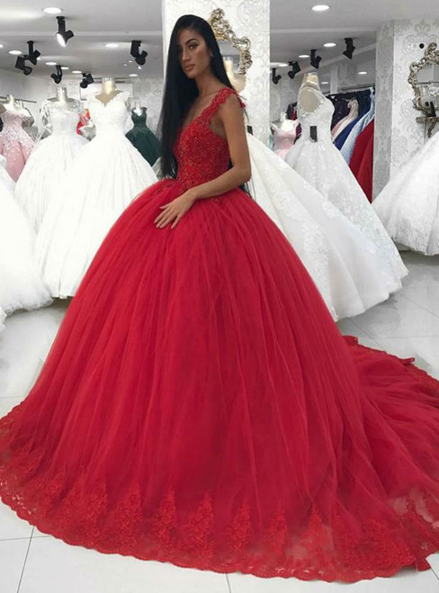 Ball gowns wedding dresses in red tulle elegant lace corset v neck junglespirit Choice Image