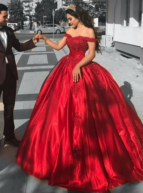 Red Satin Bridal Engagement Ball Gown Wedding Dresses Lace