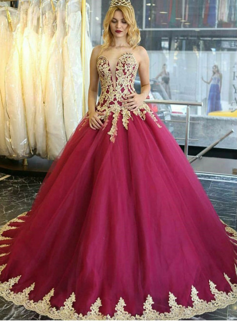 Burgundy Ball Gown Sweetheart Neck Tulle Appliques Wedding Dress