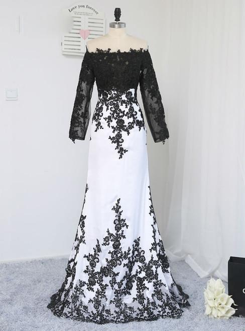 2017 Formal Celebrity Dresses Mermaid Long Sleeves Evening Dress Black White Liques