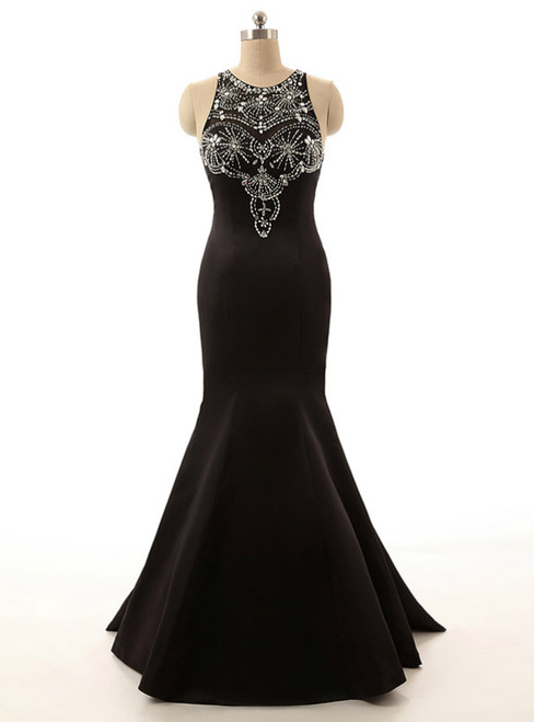 Long Satin Evening Gown Beaded Black Crystals Mermaid Prom Dresses