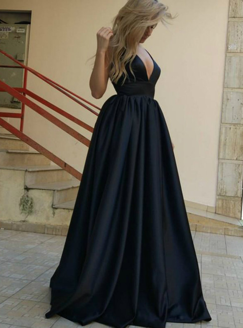 Sleeveless Backless Black Prom Dress Black Evening Dress Formal Prom ...
