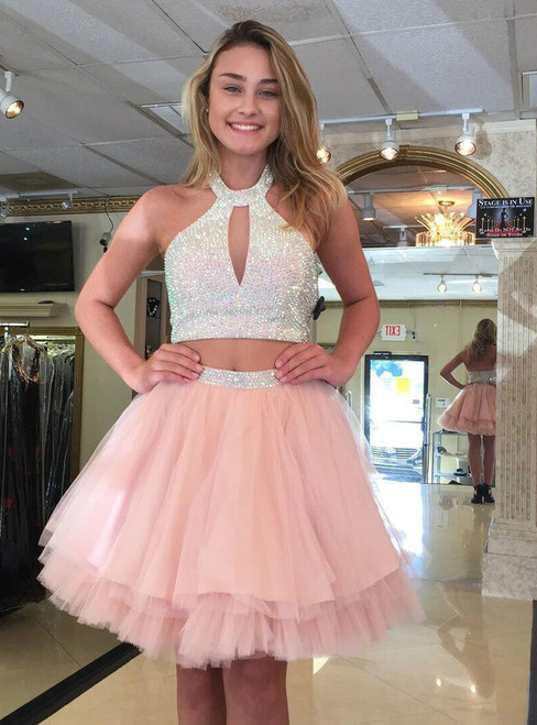 SHORT PROM DRESS PINK HOMECOMING DRESS CUTE PINK TULLE