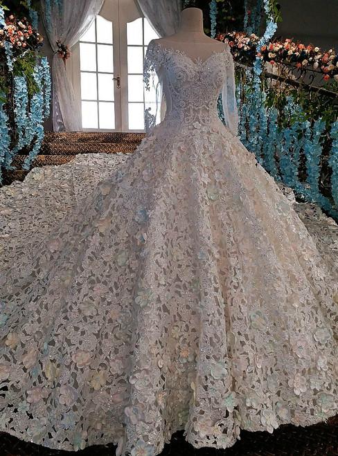 Luxury wedding dress beading off the shoulder lace up lace bridal ...