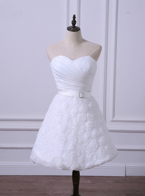 Hot Sale Short Wedding Reception Dresses Cheap White/Ivory Bridal Gown