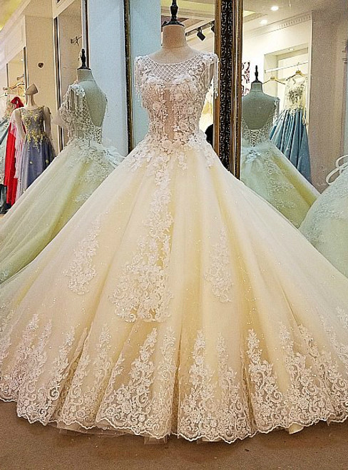 champagne wedding dress ball gown corset back beading lace bridal ...