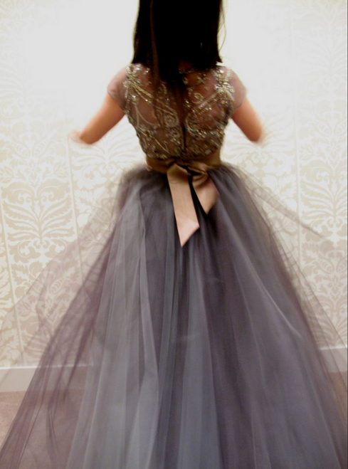 Gray Ball Gown Cap Sleeves Prom Dress with Removable Cummerbund
