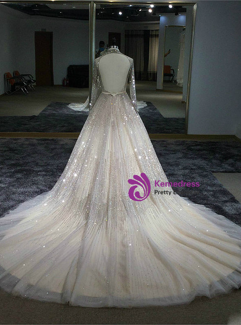 Ball Gowns Long Sleeves High-neck Hand Sewing Beaded Dress