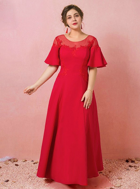 Plus Size Red Satin Off The Shoulder Tea Length Prom Dress