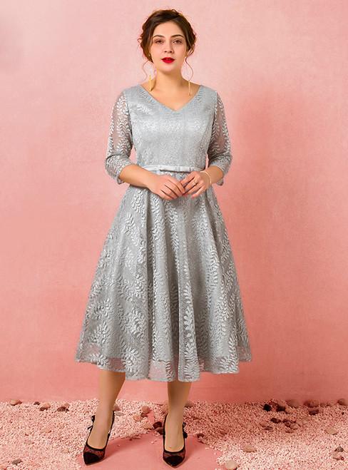 Plus Size Yellow Tea Length Tulle Short Sleeve Prom Dress