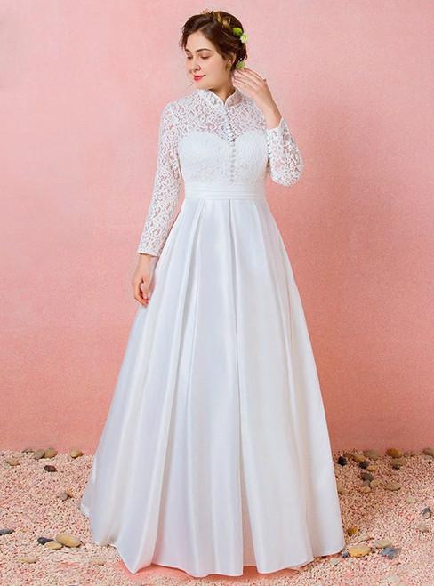 Plus Size Long Sleeve Lace Satin High Neck Wedding Dress