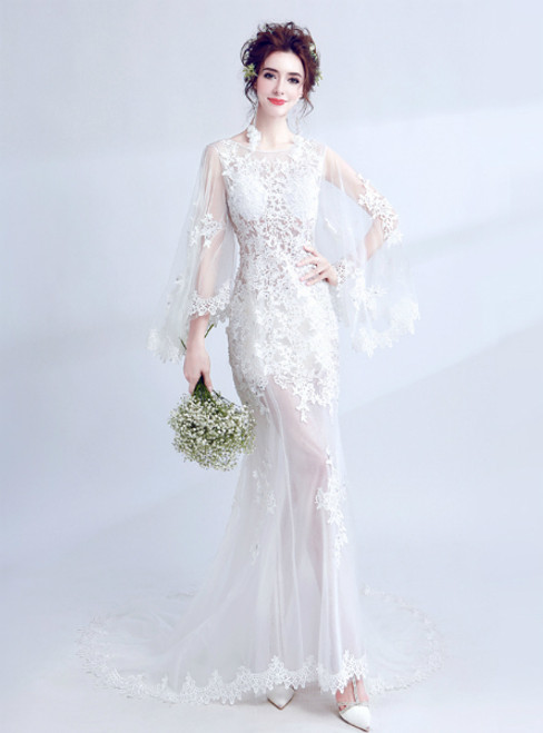 In Stock:Ship in 48 hours White Mermaid Lace Wedding Dress