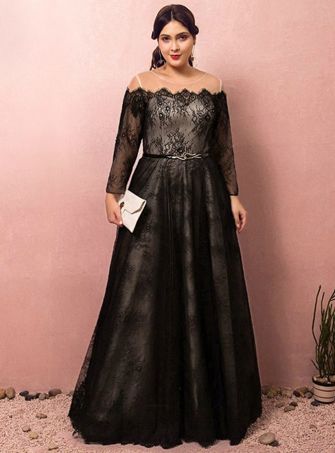Plus Size Black Lace Off The Shoulder Long Sleeve Prom Dress