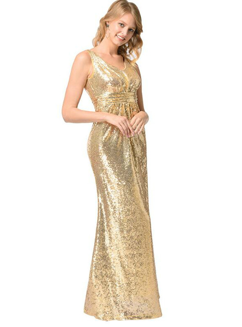 In Stock:Ship in 48 hours Gold Sequins V-neck Backless Prom Dress