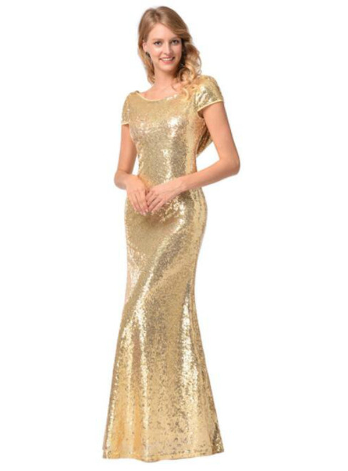 In Stock:Ship in 48 hours Mermaid Gold Sequins Backless Prom Dress